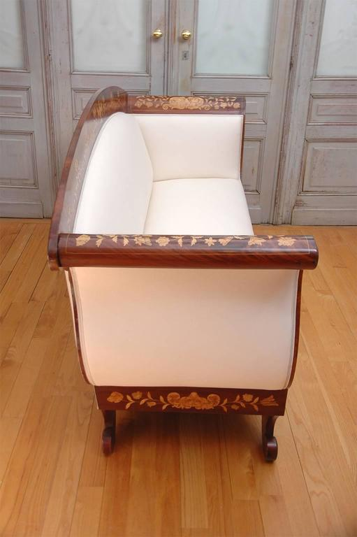 Empire Marquetry Sofa in Mahogany with Satinwood Inlays, circa 1820 In Good Condition For Sale In Miami, FL