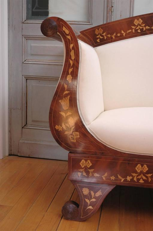Empire Marquetry Sofa in Mahogany with Satinwood Inlays, circa 1820 For Sale 3