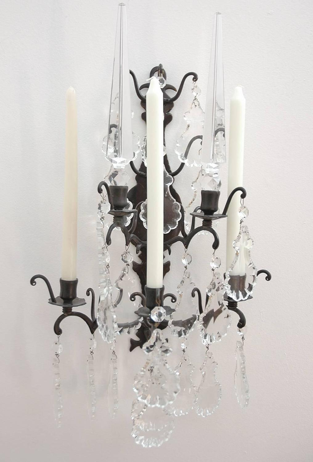 Iron And Glass Candle Wall Sconces : Set of Four Wrought Iron Candle Sconces with Cut-Glass/Crystal Obelisks For Sale at 1stdibs