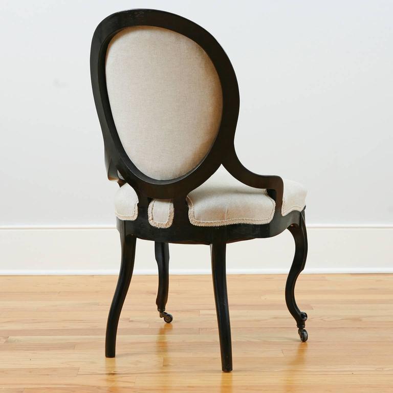 Set of Four Napoleon III Ebonized Salon Side Chairs, France, circa 1870 In Good Condition For Sale In Miami, FL