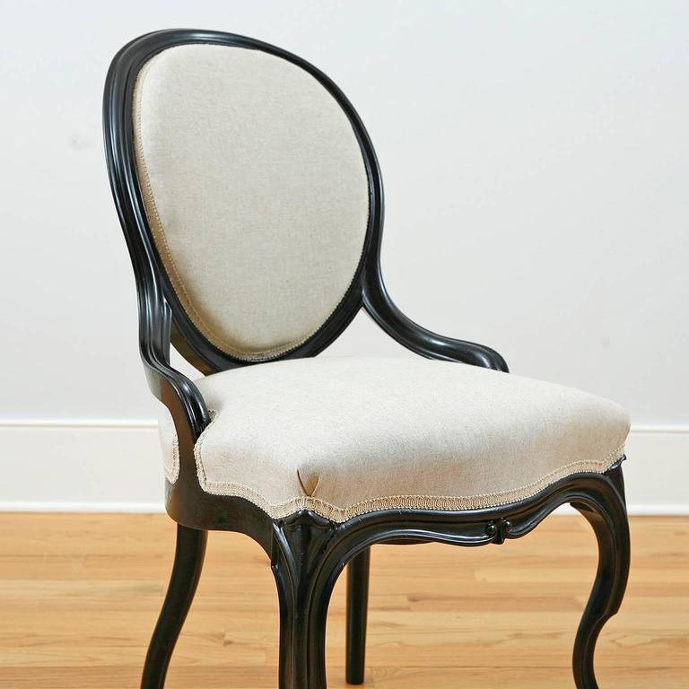 19th Century Set of Four Napoleon III Ebonized Salon Side Chairs, France, circa 1870 For Sale
