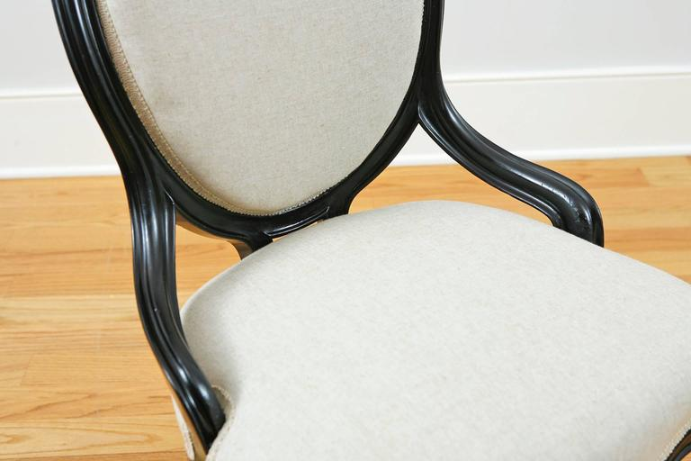 Upholstery Set of Four Napoleon III Ebonized Salon Side Chairs, France, circa 1870 For Sale