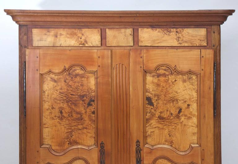 Oiled 19th Century Antique French Armoire in Walnut & Cherry with Burl Olive Ash Panel For Sale