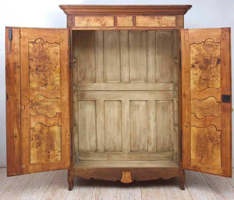 19th Century Antique French Armoire in Walnut & Cherry with Burl Olive Ash Panel 6