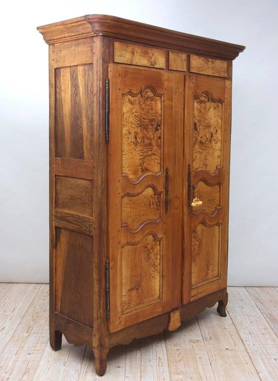 19th Century Antique French Armoire in Walnut & Cherry with Burl Olive Ash Panel 7