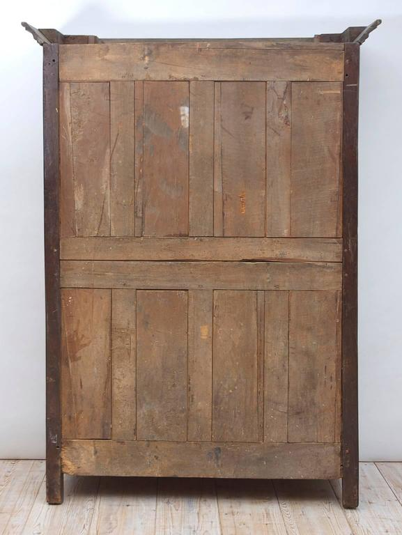 19th Century Antique French Armoire in Walnut & Cherry with Burl Olive Ash Panel 10