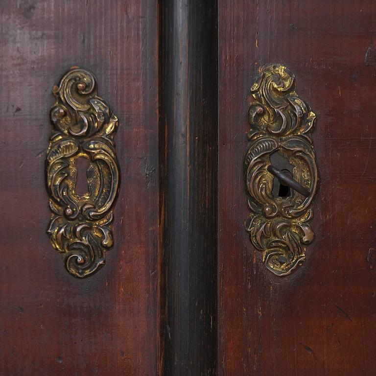 Beech Antique Pair of 19th Century Austrian Armoires with Painted Faux-Bois Finish For Sale