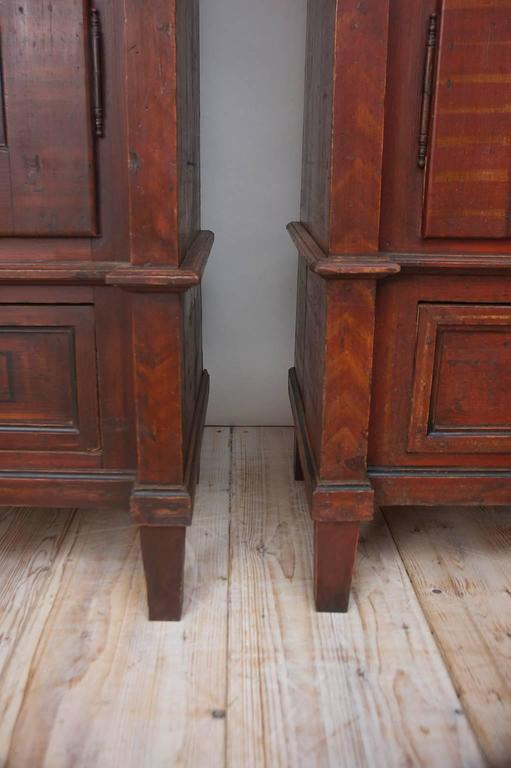 Antique Pair of 19th Century Austrian Armoires with Painted Faux-Bois Finish For Sale 2