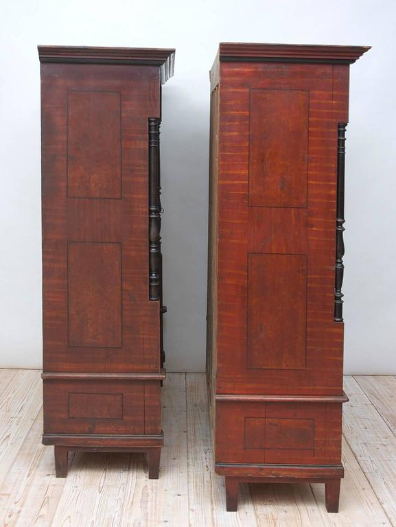 Empire Antique Pair of 19th Century Austrian Armoires with Painted Faux-Bois Finish For Sale