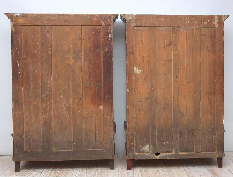 Antique Pair of 19th Century Austrian Armoires with Painted Faux-Bois Finish For Sale 3