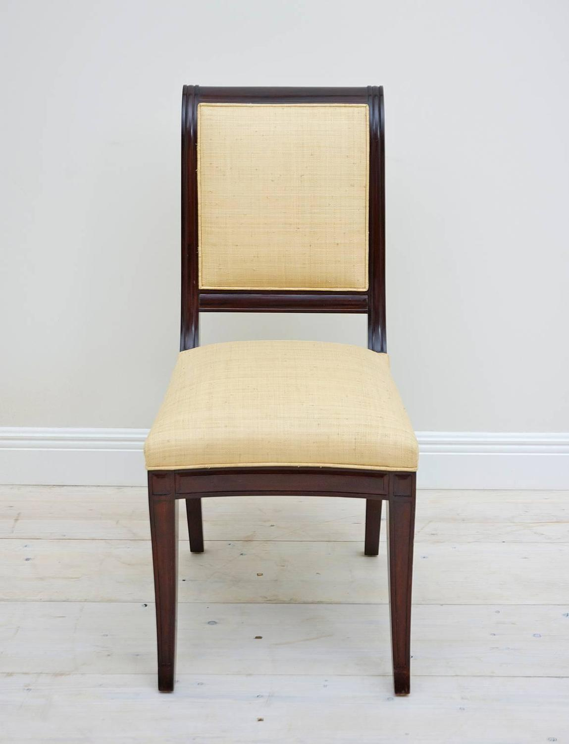 Set Of 12 British Colonial Gany Dining Chairs Upholstered In Madagascar At 1stdibs