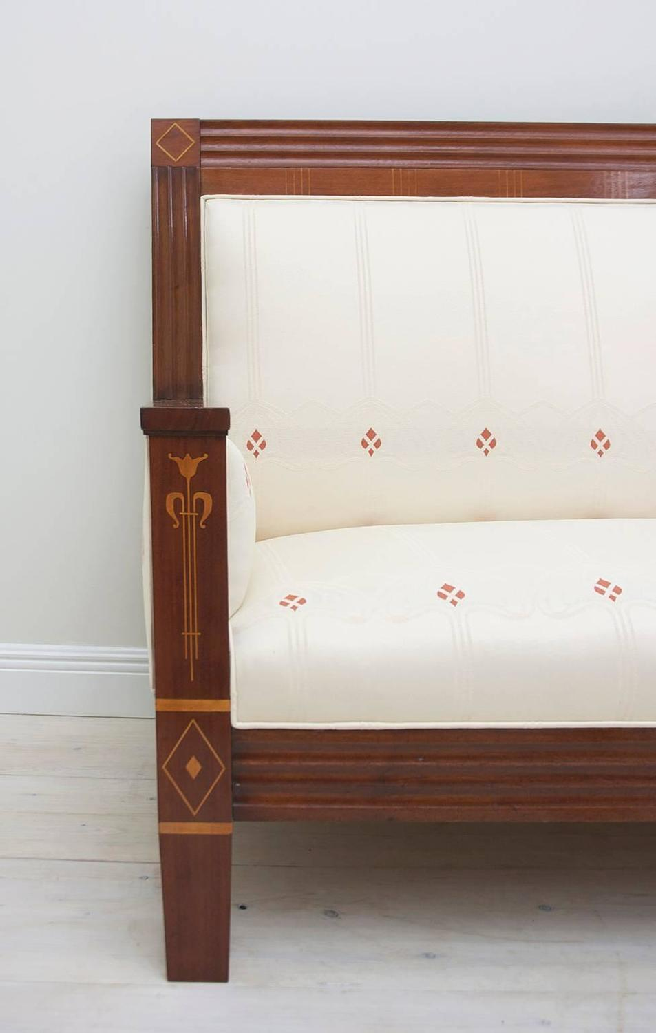 German Arts And Crafts Loveseat Upholstered In Period