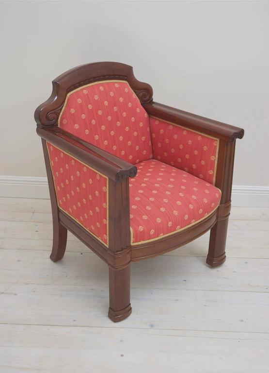 20th Century Pair of Danish Art Deco Club Chairs in Mahogany with Upholstery, circa 1920 For Sale