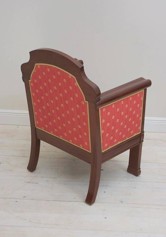 Pair of Danish Art Deco Club Chairs in Mahogany with Upholstery, circa 1920 For Sale 3