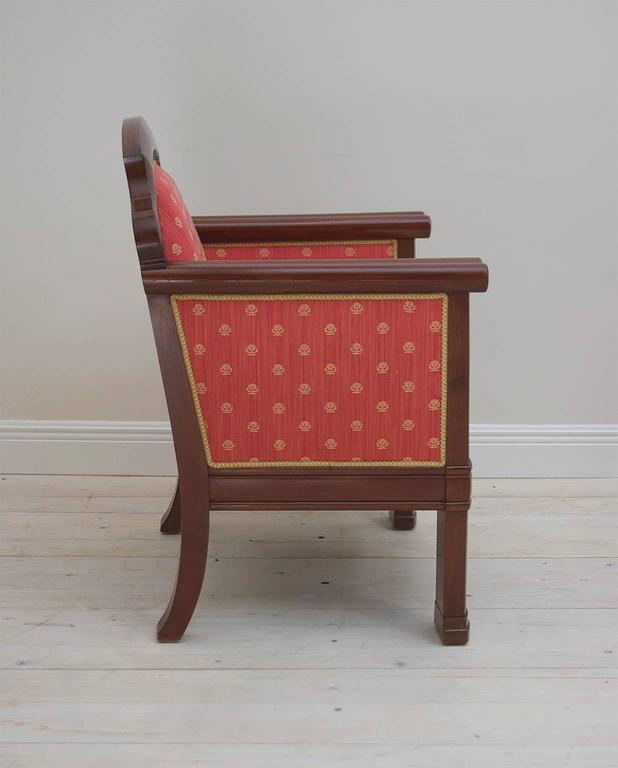 Pair of Danish Art Deco Club Chairs in Mahogany with Upholstery, circa 1920 For Sale 1