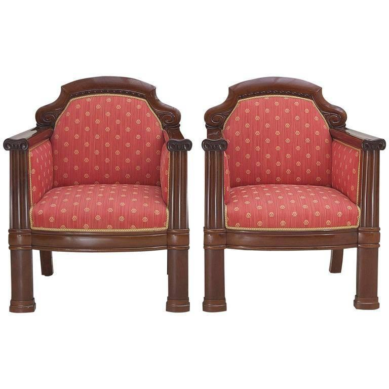 Polished Pair of Danish Art Deco Club Chairs in Mahogany with Upholstery, circa 1920 For Sale