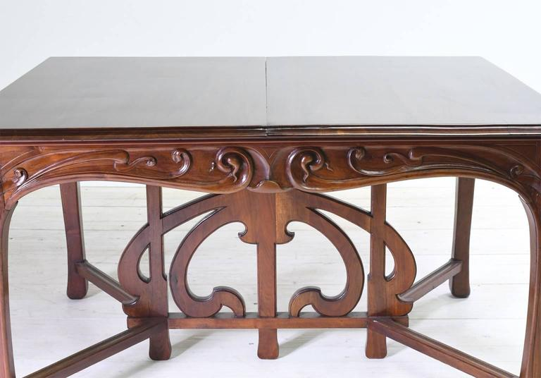 Art Nouveau Dining Suite with Six Chairs and Extension Table, France, circa 1900 For Sale 1