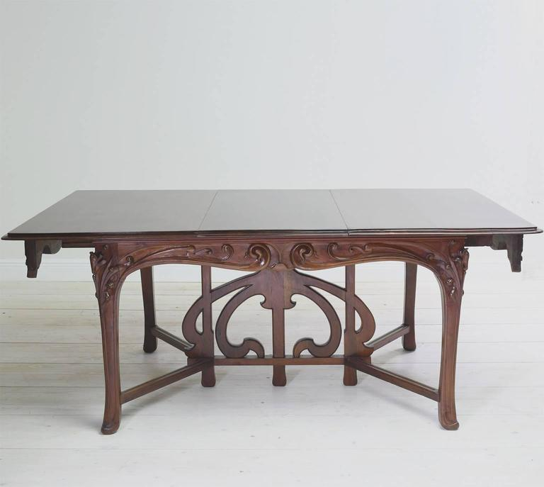 Art Nouveau Dining Suite with Six Chairs and Extension Table, France, circa 1900 For Sale 2