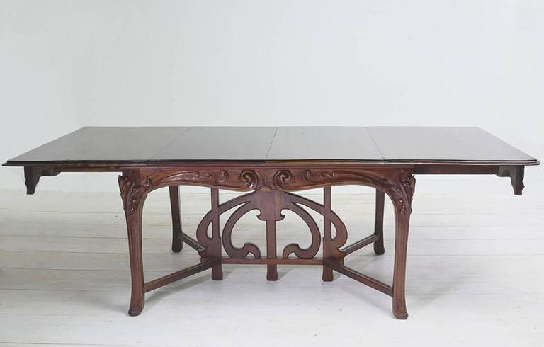 Art Nouveau Dining Suite with Six Chairs and Extension Table, France, circa 1900 For Sale 3