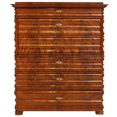 Louis Phillipe North German Fall-Front Secretary in Flame Mahogany, circa 1855