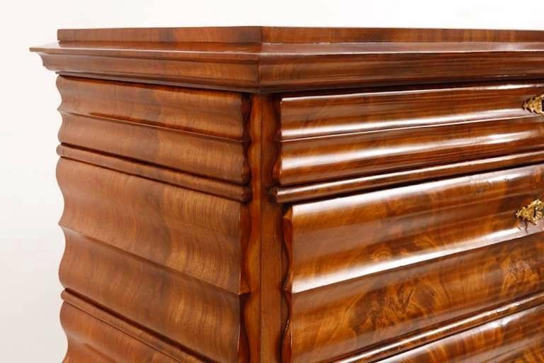 Polished Louis Phillipe North German Fall-Front Secretary in Flame Mahogany, circa 1855 For Sale