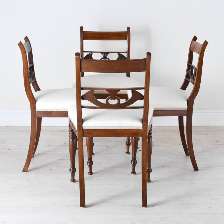 Early 19th Century Set of 4 Antique English Regency Dining Chairs in Mahogany w/ Upholstered Seat For Sale