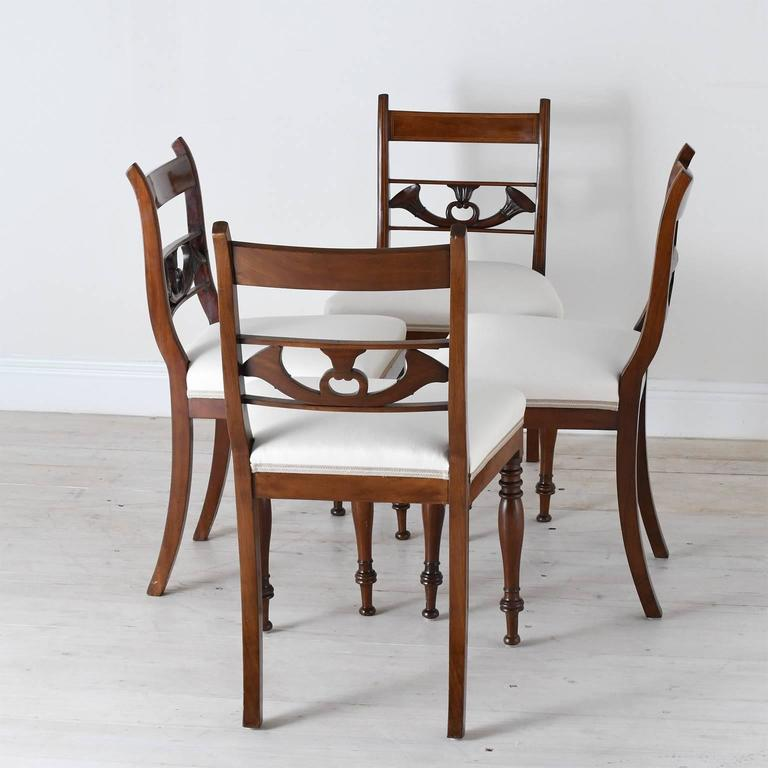 Polished Set of 4 Antique English Regency Dining Chairs in Mahogany w/ Upholstered Seat For Sale