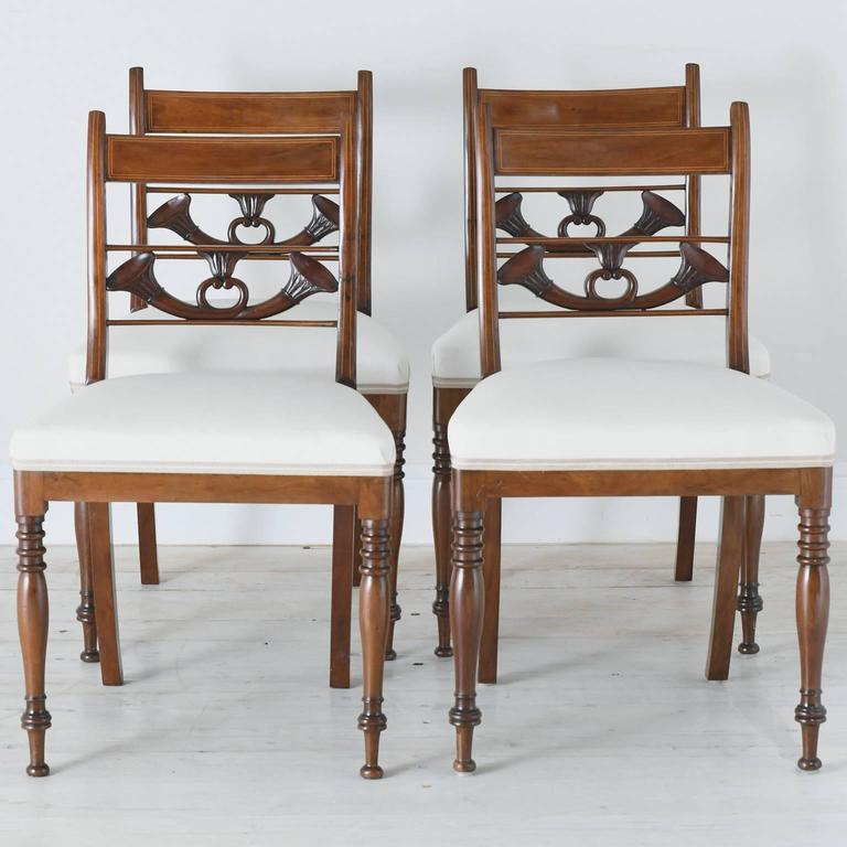 Set of 4 Antique English Regency Dining Chairs in Mahogany w/ Upholstered Seat For Sale 2