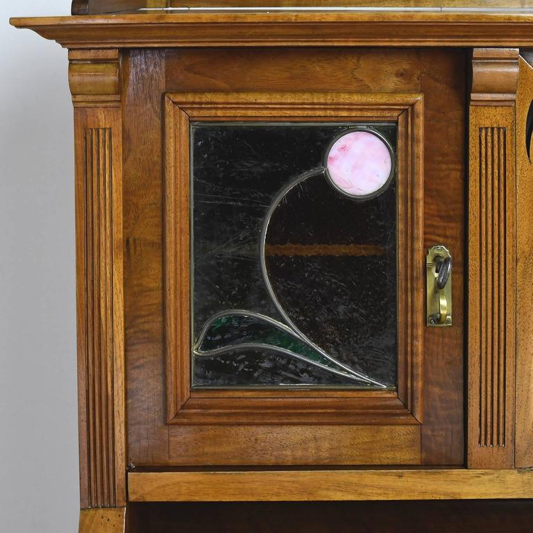 Art Nouveau Walnut Pedestal Desk With Upper Cabinet And Stained Glass C 1900 For Sale At 1stdibs