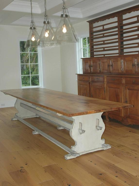 American Bonnin Ashley Custom Made 12' Gustavian Table Shown with Painted Trestle Base  For Sale