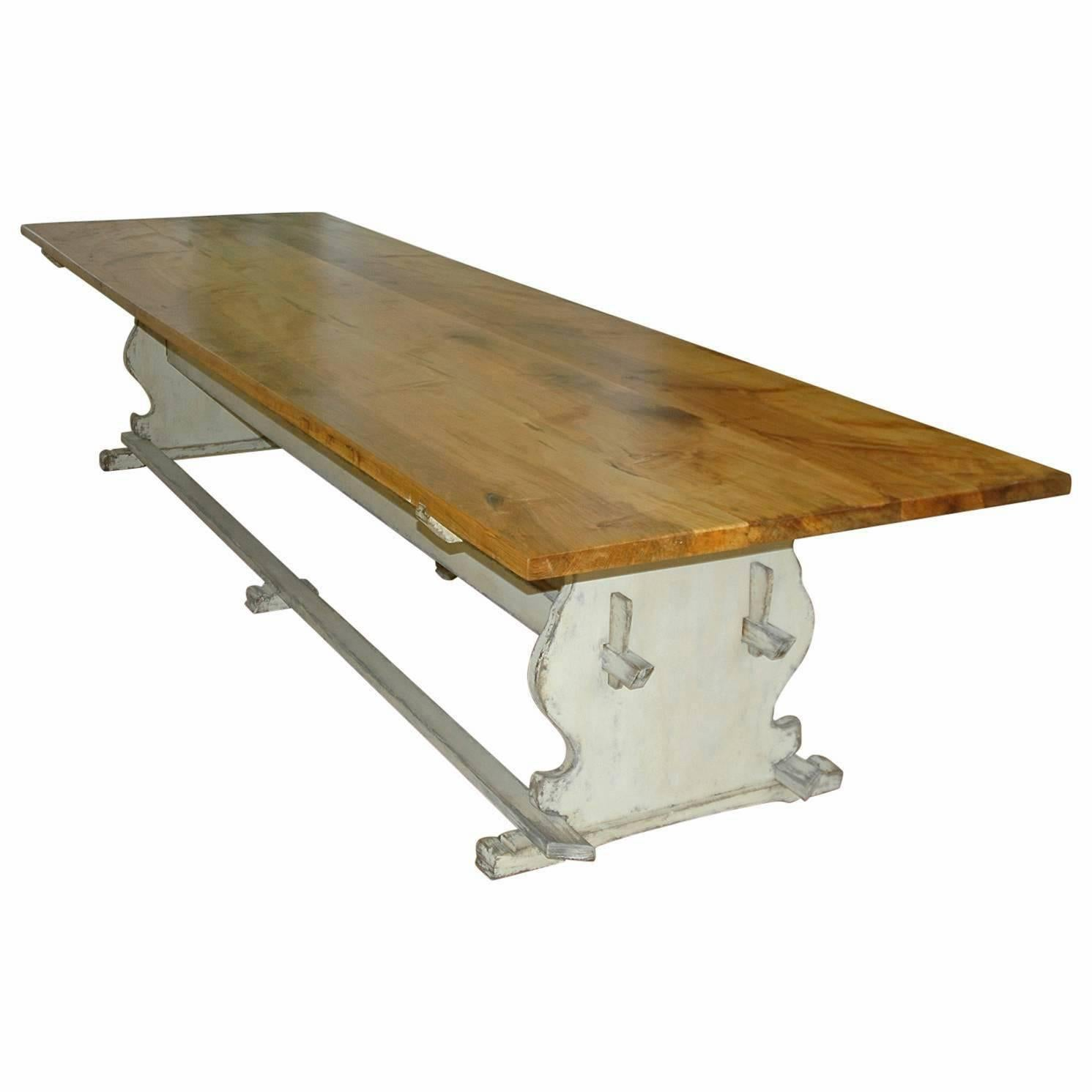 Bonnin Ashley Custom Made 12' Gustavian Table Shown with Painted Trestle Base