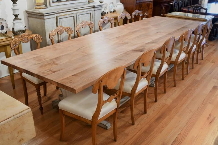 12 Long Gustavian Style Dining Table With Painted Trestle