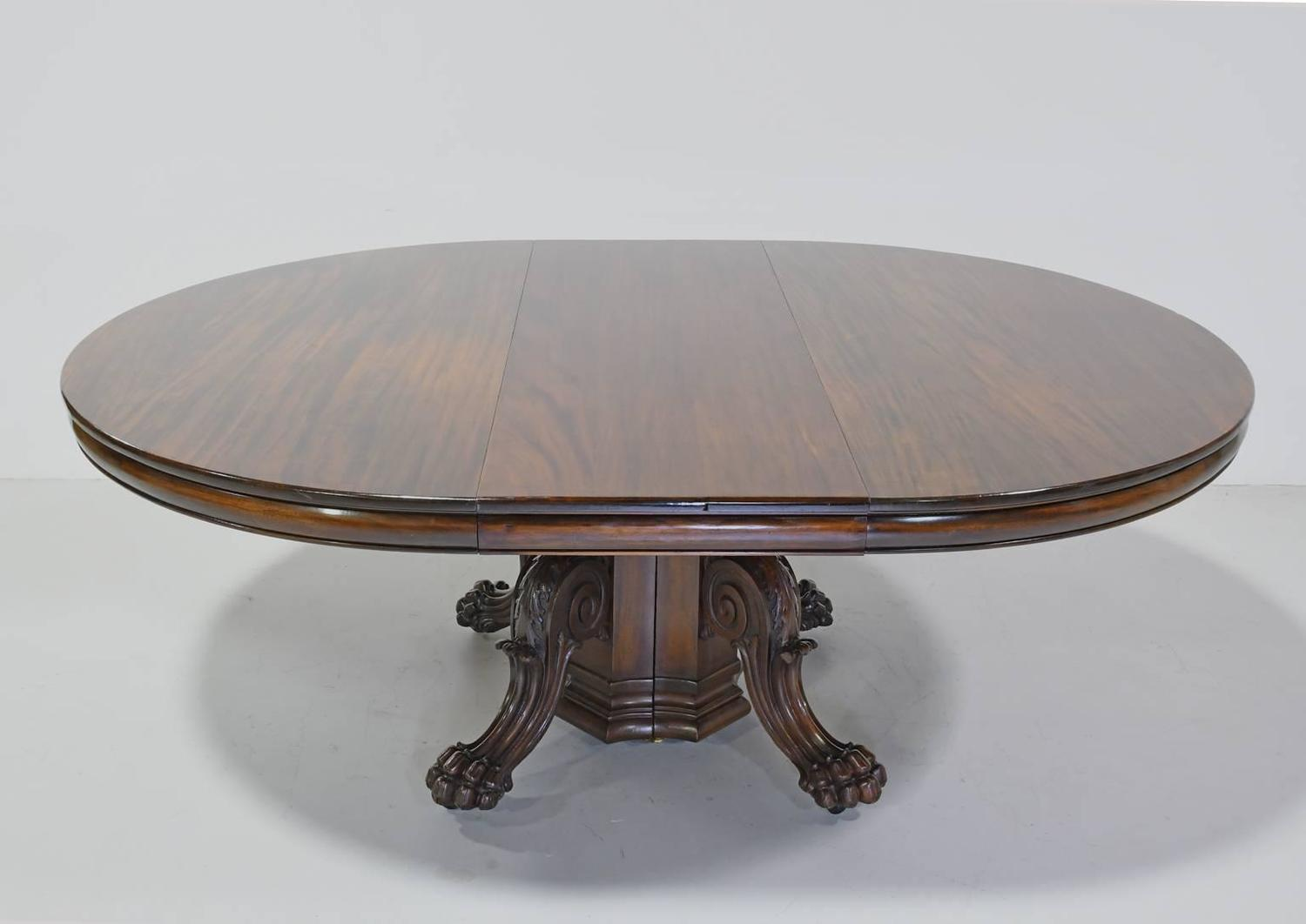 round american empire center pedestal dining table with extension leaves for sale at 1stdibs. Black Bedroom Furniture Sets. Home Design Ideas