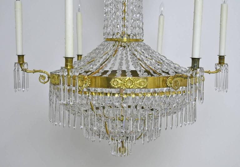 Beveled Antique Swedish Gustavian / Empire Crystal Chandelier with Ten Lights, ca. 1810 For Sale