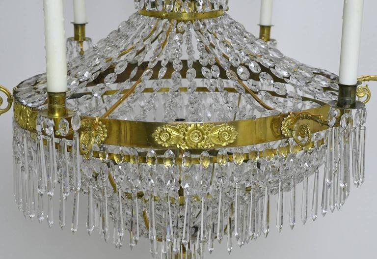 Antique Swedish Gustavian / Empire Crystal Chandelier with Ten Lights, ca. 1810 In Good Condition For Sale In Miami, FL