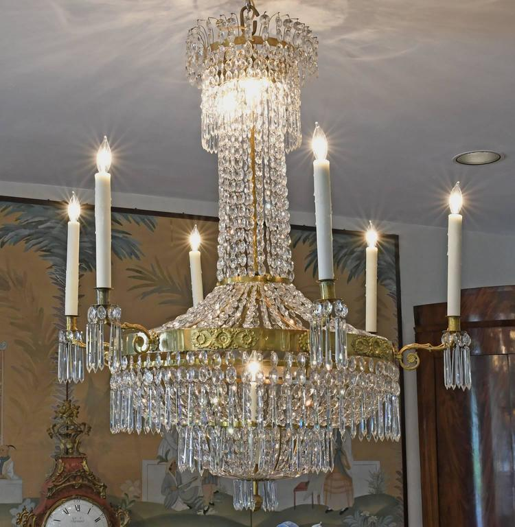 Antique Swedish Gustavian / Empire Crystal Chandelier with Ten Lights, ca. 1810 For Sale 2