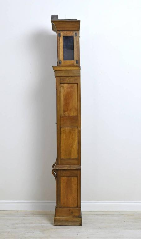 Tall French Louis XVI Long Case Clock with Walnut Case & Brass and Enamel Dial In Good Condition For Sale In Miami, FL