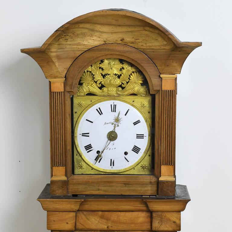 Tall French Louis XVI Long Case Clock with Walnut Case & Brass and Enamel Dial For Sale 3