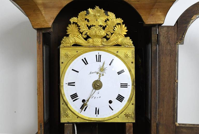 Tall French Louis XVI Long Case Clock with Walnut Case & Brass and Enamel Dial For Sale 4