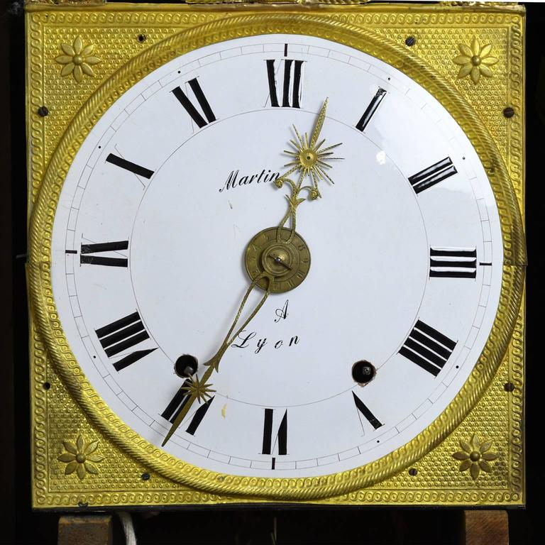 Tall French Louis XVI Long Case Clock with Walnut Case & Brass and Enamel Dial 9