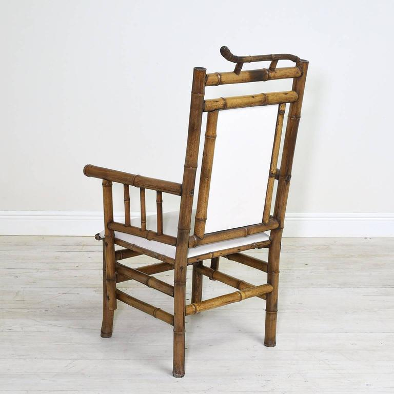 Pair Of Antique French Indochinese Bamboo Lounge Chairs