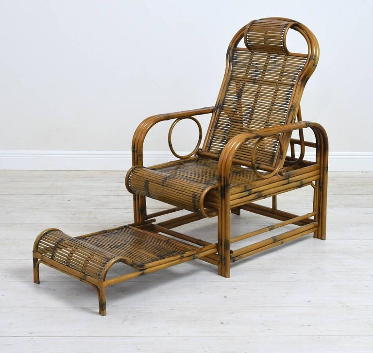 Pair of Bamboo Lounge Chairs with Sliding Foot Rests, French ...