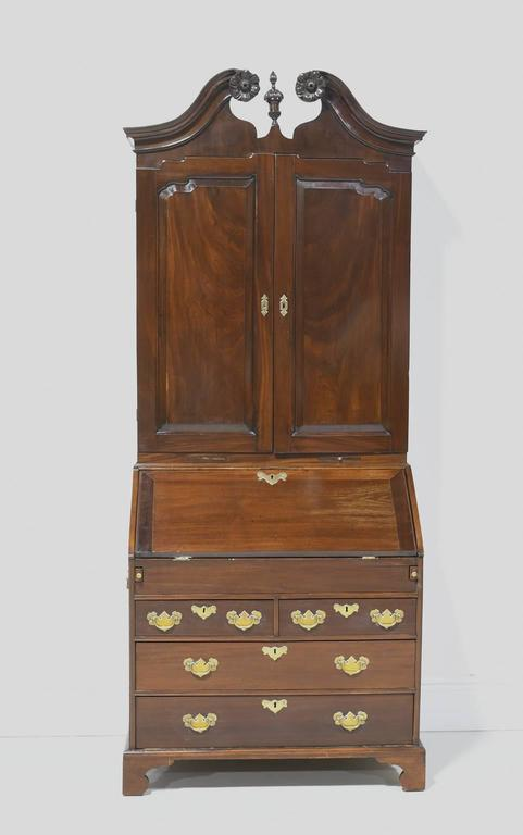 Carved 18th Century English George III Slant Front Secretary with Bookcase in Mahogany For Sale