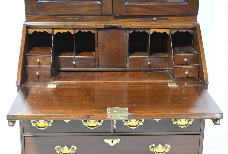 Antique English George III Slant-Front Secretary w/ Bookcase in Cuban Mahogany For Sale 1