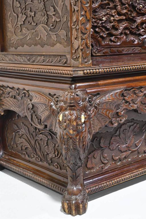 19th Century Carved Chinese Dragon Bench With Storage