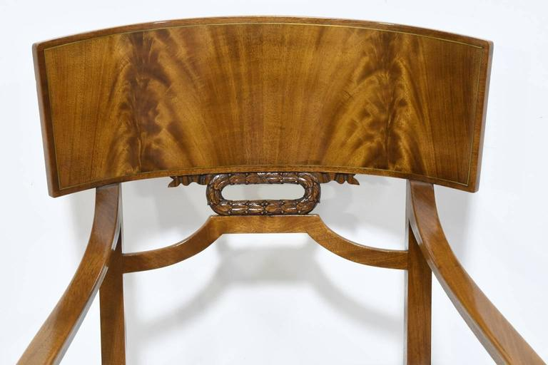 Pair of Karl Johan Style Swedish Empire Klismo Chairs in Cuban Mahogany For Sale 1