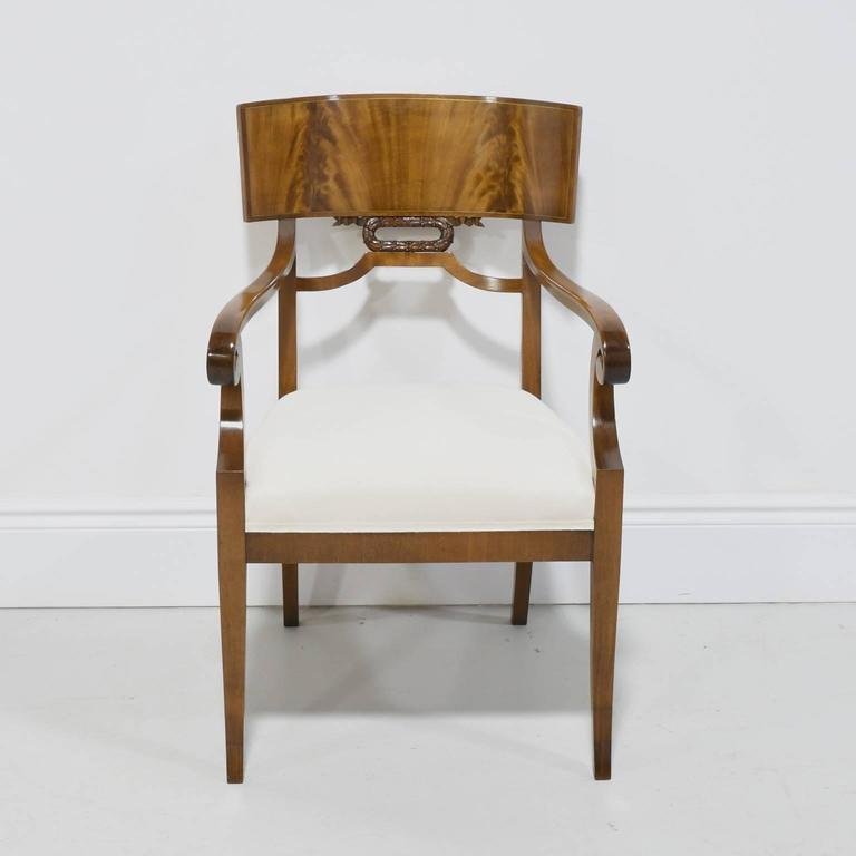 Danish Pair of Karl Johan Style Swedish Empire Klismo Chairs in Cuban Mahogany For Sale