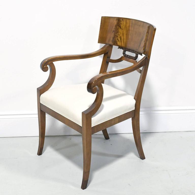 Inlay Pair of Karl Johan Style Swedish Empire Klismo Chairs in Cuban Mahogany For Sale
