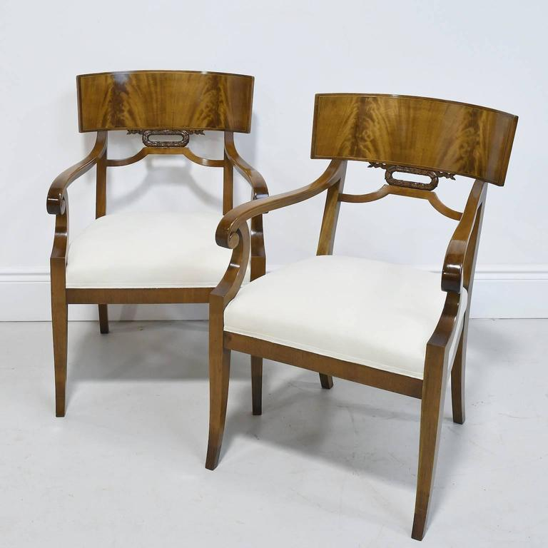 Upholstery Pair of Karl Johan Style Swedish Empire Klismo Chairs in Cuban Mahogany For Sale
