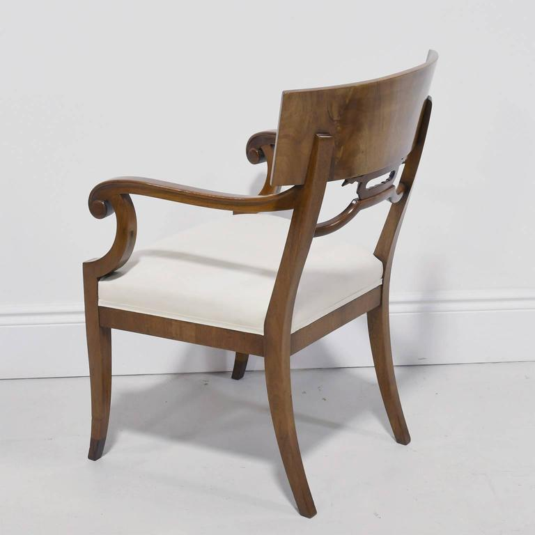 20th Century Pair of Karl Johan Style Swedish Empire Klismo Chairs in Cuban Mahogany For Sale